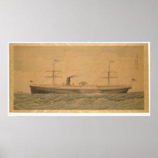 Buque de vapor pacífico Sacramento (1607A) Póster