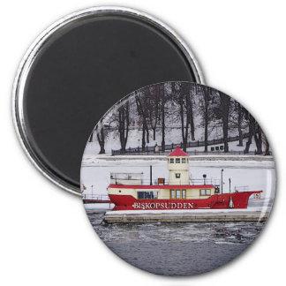 Buque faro Biskopsudden de Estocolmo Suecia Imán Redondo 5 Cm