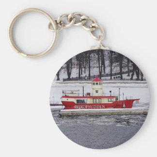 Buque faro Biskopsudden de Estocolmo Suecia Llavero Redondo Tipo Pin