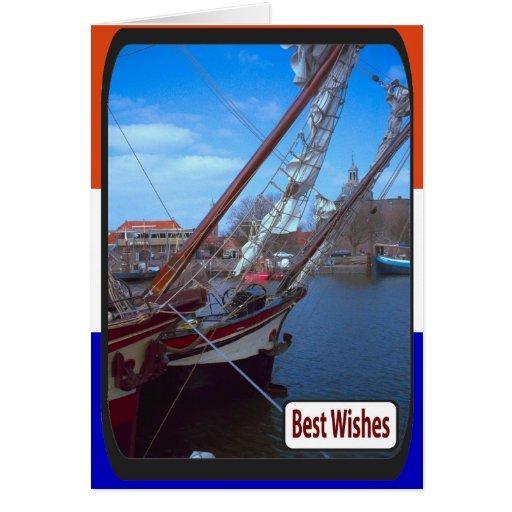 Buque holandés del entrenamiento de la vela, puert tarjetón