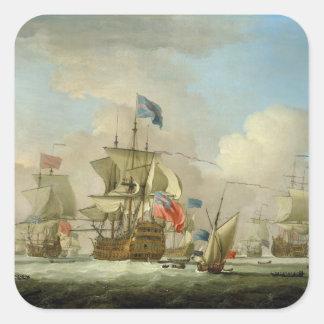 Buques de guerra británicos y un Sloop, c.1720-30 Colcomanias Cuadradas