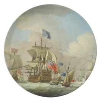 Buques de guerra británicos y un Sloop, c.1720-30  Platos