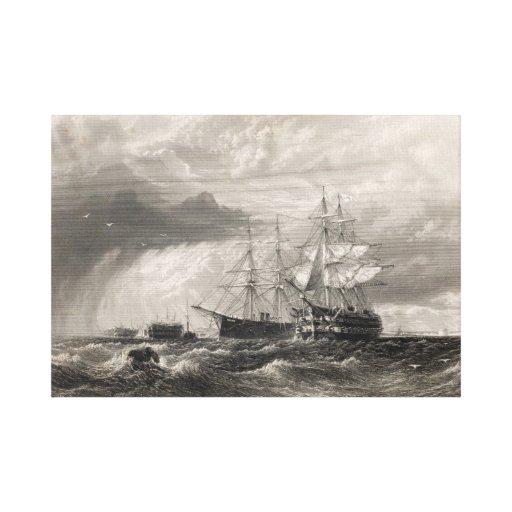Buques de guerra en Sheerness Impresión En Lona Estirada