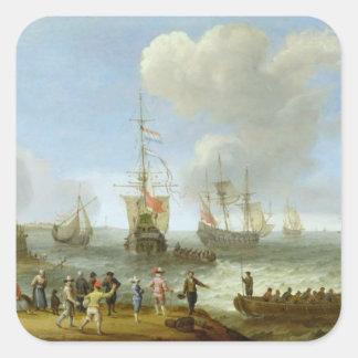 Buques de guerra holandeses en un estuario calcomania cuadradas