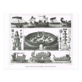 Buques de guerra romanos y un spactacle naval postales