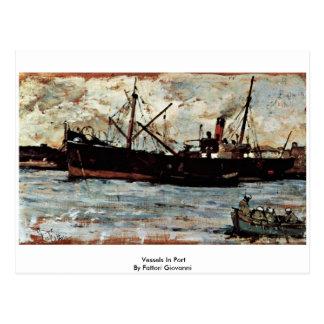 Buques en puerto de Fattori Juan Tarjeta Postal