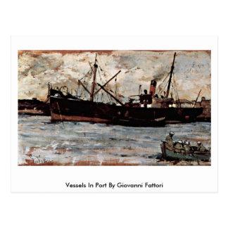 Buques en puerto de Giovanni Fattori Postales