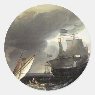 Buques holandeses de Ludolf Bakhuizen en un mar Pegatinas Redondas