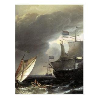 Buques holandeses de Ludolf Bakhuizen en un mar Postal
