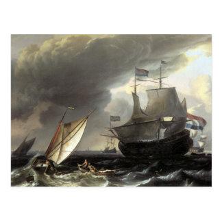 Buques holandeses de Ludolf Bakhuizen en un mar Tarjetas Postales