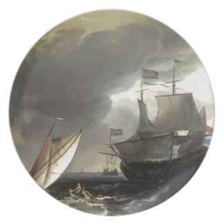 Buques holandeses de Ludolf Bakhuizen en un mar te Plato