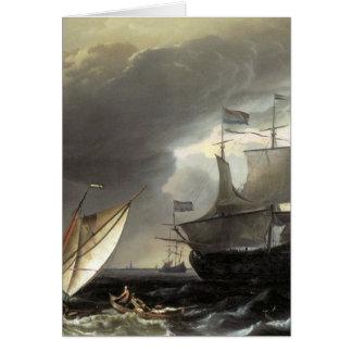 Buques holandeses de Ludolf Bakhuizen en un mar te Tarjeta De Felicitación