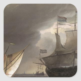 Buques holandeses en un mar 1690 de la historia calcomania cuadradas