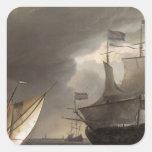 Buques holandeses en un mar 1690 de la historia pegatina cuadrada