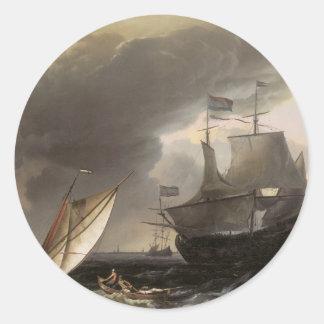 Buques holandeses en un mar tempestuoso C. 1690 Pegatinas Redondas