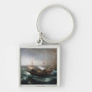 Buques mercantil holandeses y un Smalschip acompañ Llavero Cuadrado Plateado