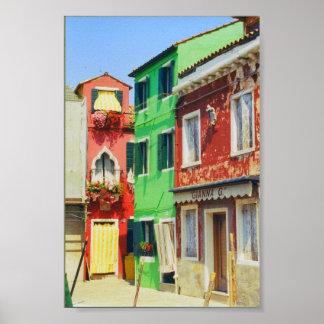 Burano Island Street Scene Venice Italy Print