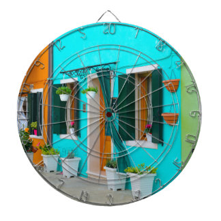 Burano Italy Buildings near Venice Dart Board