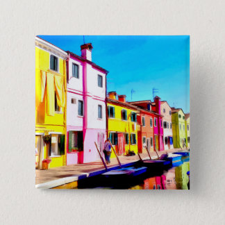 Burano, Venice watercolor painting Button