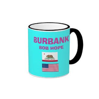 Burbank* Bob Hope BUR Airport Code Cup Ringer Coffee Mug