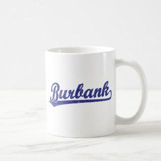 Burbank script logo in blue coffee mug