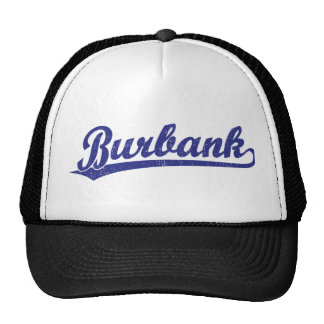 Burbank script logo in blue hat