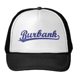 Burbank script logo in blue trucker hat