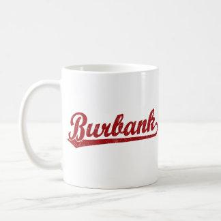 Burbank script logo in red coffee mug