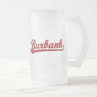 Burbank script logo in red frosted glass beer mug