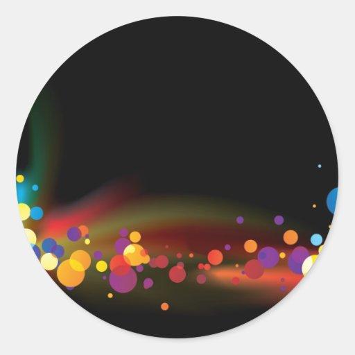 burbuja abstracta del arco iris pegatina redonda
