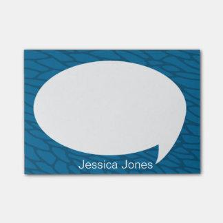 Burbuja azul de la charla del mar redondeada perso post-it nota