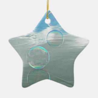 Burbuja, azul adorno de cerámica en forma de estrella