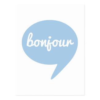 burbuja azul del discurso del bonjour, arte francé tarjetas postales