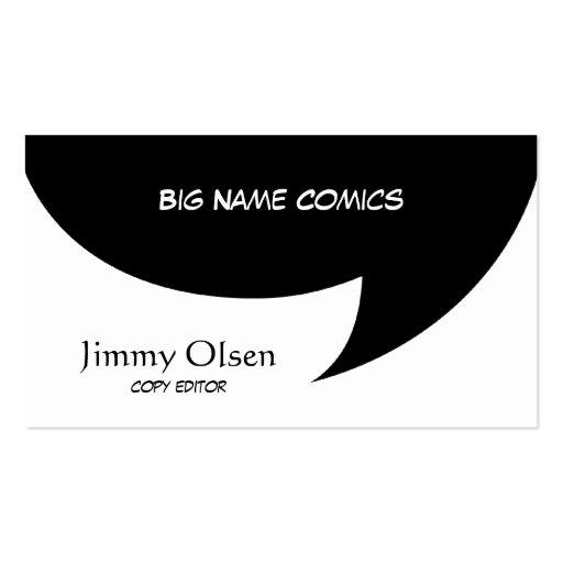 Burbuja cómica del discurso tarjeta de visita