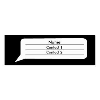 Burbuja cómica tarjetas de visita mini