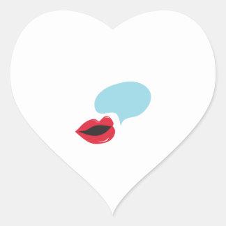 Burbuja de la voz pegatina en forma de corazón