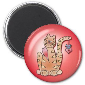 BURBUJA del CORAZÓN del CAT de SHARON SHARPE Imán Redondo 5 Cm