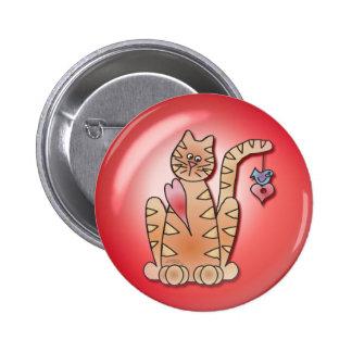 BURBUJA del CORAZÓN del CAT de SHARON SHARPE Pin Redondo 5 Cm