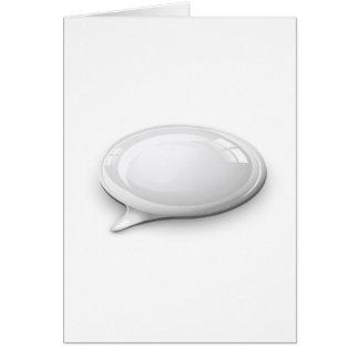 Burbuja del discurso blanca y brillante tarjeta de felicitación