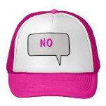 """Burbuja del discurso que dice """"no"""" el gorra"""