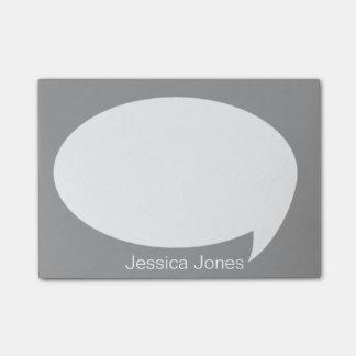 Burbuja gris de la charla redondeada personalizada nota post-it®