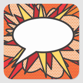 Burbuja personalizada del discurso del arte pop pegatina cuadrada