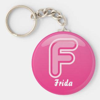 Burbuja rosada de la letra F del llavero