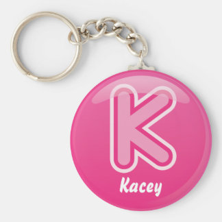 Burbuja rosada de la letra K del llavero