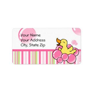Burbuja rosada Ducky Etiqueta De Dirección