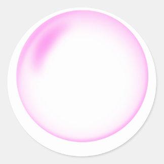 Burbuja rosada pegatina redonda