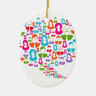 Burbuja social del discurso de la comunicación de adorno ovalado de cerámica