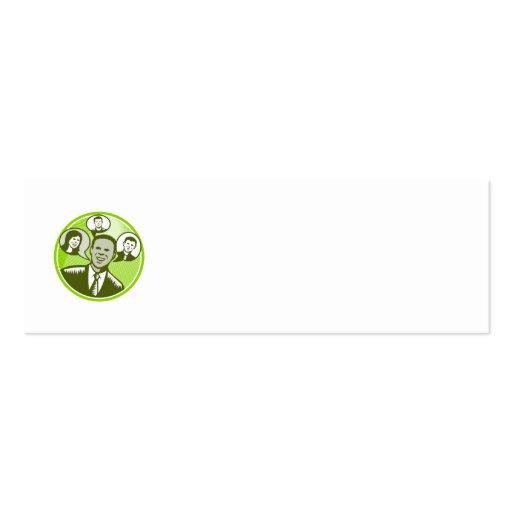 Burbuja sonriente del discurso de la gente del hom tarjetas de visita mini