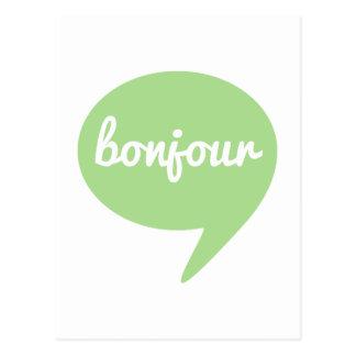 burbuja verde del discurso del bonjour, arte franc postal