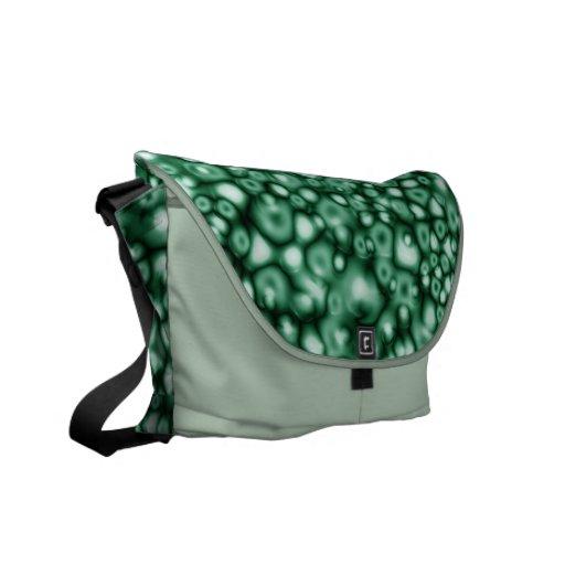 Burbujas abstractas del verde bolsas messenger